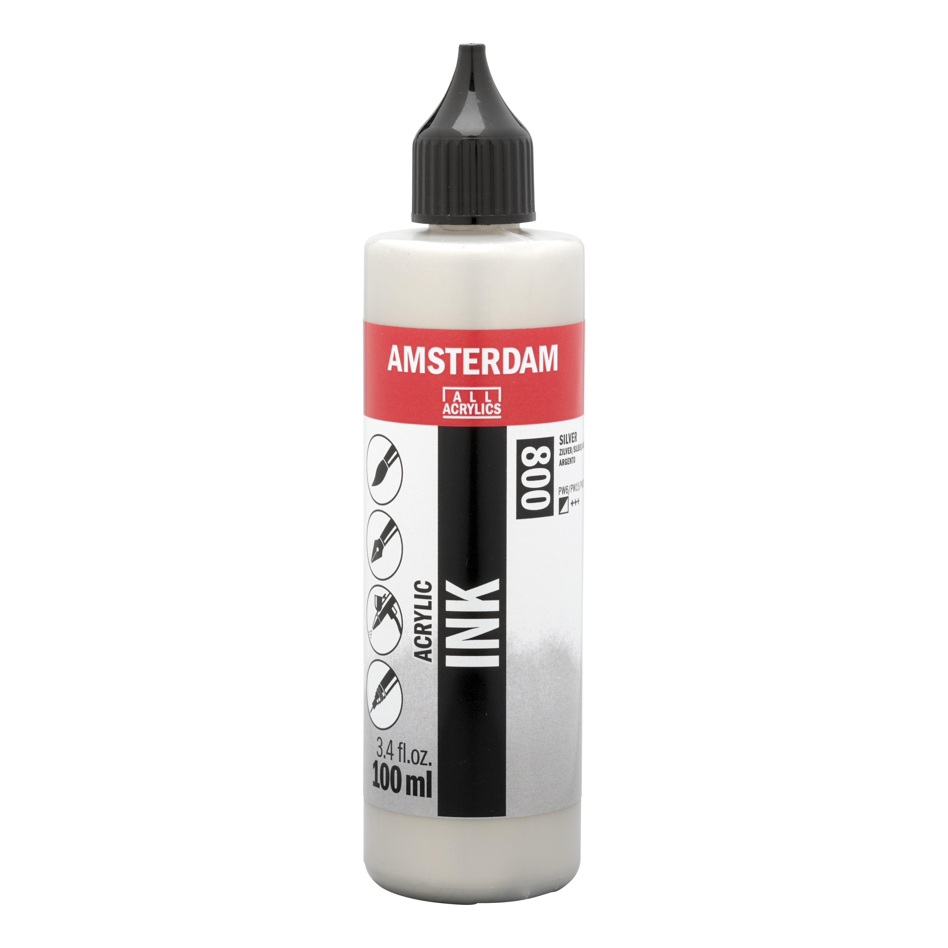 Amsterdam Acrylic Ink Bottle 100 ml Silver 800
