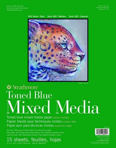 TONED BLUE MIXED MEDIA PAPER GLUE BOUND 184LB 15SH 9X12