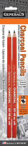 CHARCOAL PENCIL 6B EXTRA SOFT 2 PACK