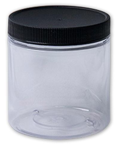 CLEAR PLASTIC JAR WD MOUTH W/LID 8OZ