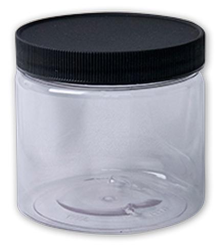 CLEAR PLASTIC JAR WD MOUTH W/LID 16OZ