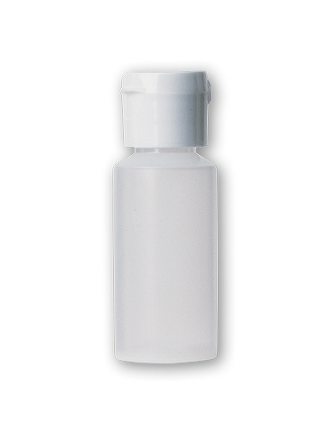 TRANSLUCENT SQUEEZABLE PLASTIC BOTTLE W/FLIP CAP 1OZ