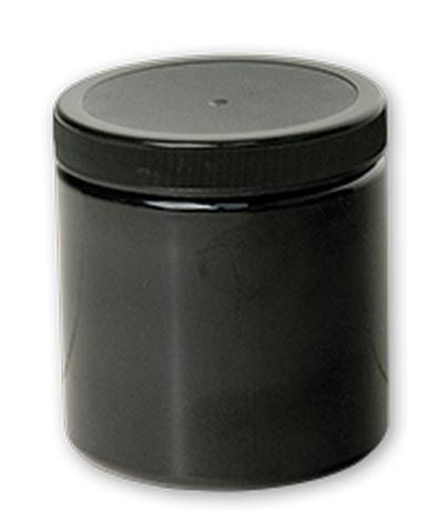 OPAQUE BLACK PLASTIC JAR WDMOUTH W/LID 8OZ