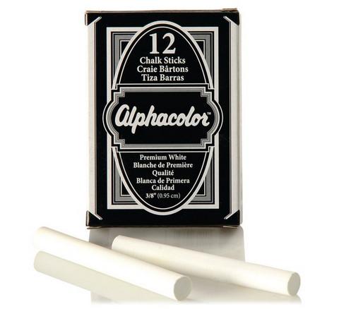 ALPHACOLOR CHALK 3/8 WHITE 12 PIECES