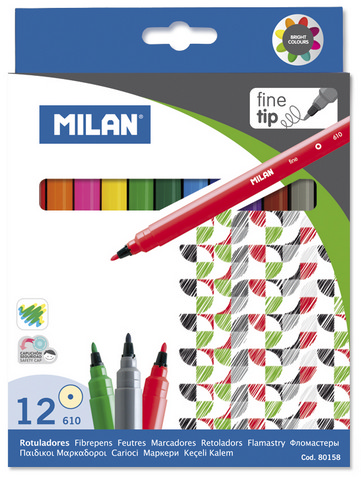 MILAN FINE TIPPED WATER-BASED MARKERS 12 COUNT SET