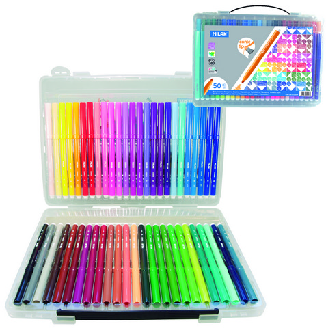 MILAN CONE TIPPED WATER-BASED MARKER 50 COUNT BRIEFCASE SET