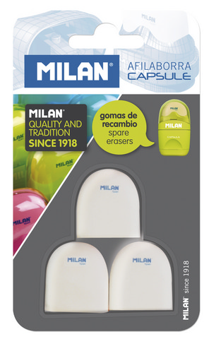 MILAN CAPSULE ERASER REFILL 3 PACK CARDED