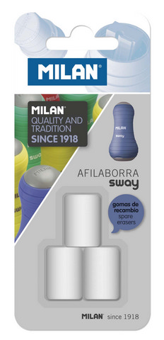 MILAN SWAY ERASER REFILL 3 PACK CARDED