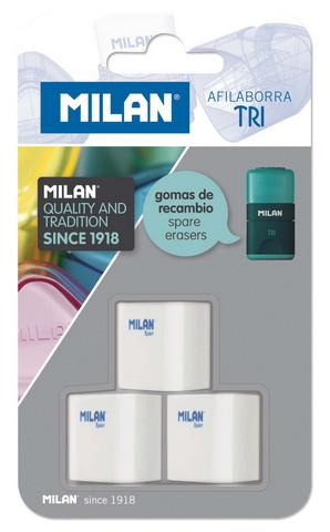 MILAN TRI ERASER REFILL 3 PACK CARDED