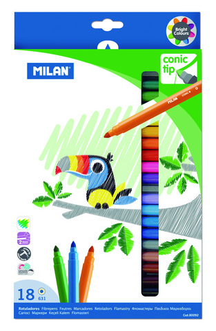MILAN CONE TIPPED WATER-BASED MARKERS 18 COUNT SET