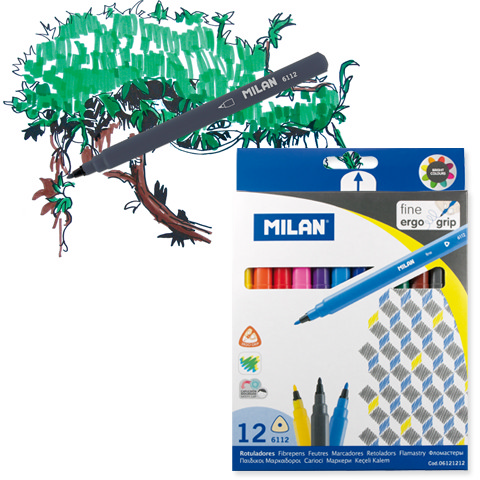 MILAN ERGO GRIP FINE TIPPED WATER-BASED MARKER 12 COUNT SET