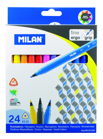 MILAN ERGO GRIP FINE TIPPED WATER-BASED MARKER 24 COUNT SET
