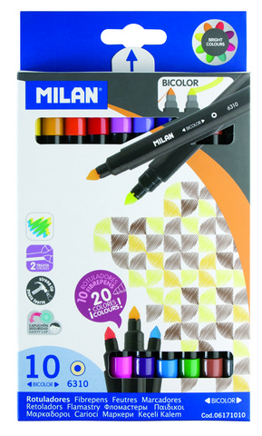 MILAN CONE TIPPED BICOLOR WATER-BASED MARKER 10 COUNT SET