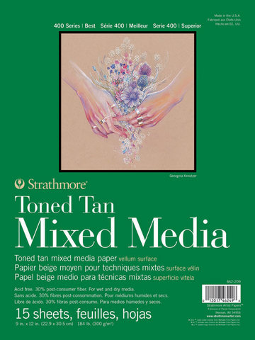 TONED TAN MIXED MEDIA PAPER GLUE BOUND 184LB 15SH 9X12