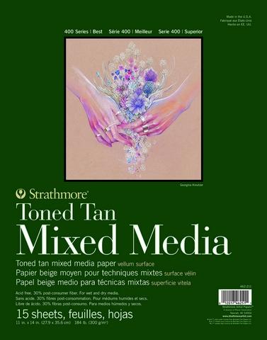 TONED TAN MIXED MEDIA PAPER GLUE BOUND 184LB 15SH 11X14