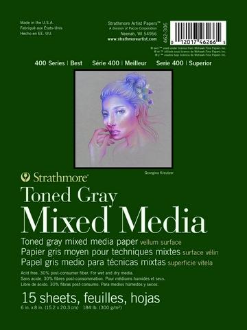 TONED GRAY MIXED MEDIA PAPER GLUE BOUND 184LB 15SH 6X8