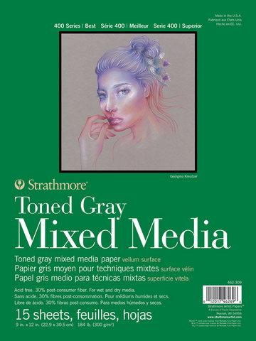 TONED GRAY MIXED MEDIA PAPER GLUE BOUND 184LB 15SH 9X12