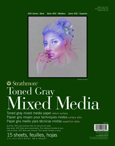 TONED GRAY MIXED MEDIA PAPER GLUE BOUND 184LB 15SH 11X14