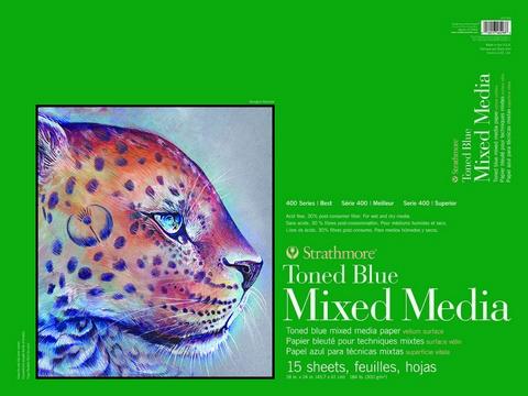 TONED BLUE MIXED MEDIA PAPER GLUE BOUND 184LB 15SH 18X24
