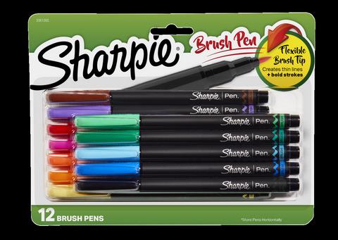 SHARPIE PEN BRUSH ASST 12 CARDED