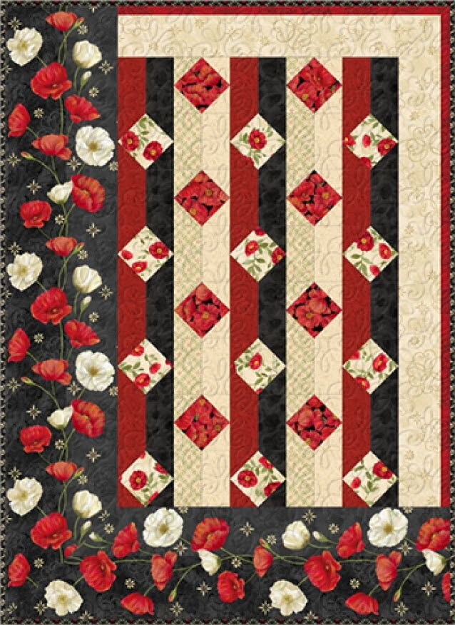 Midnight Poppies Throw Quilt Kit