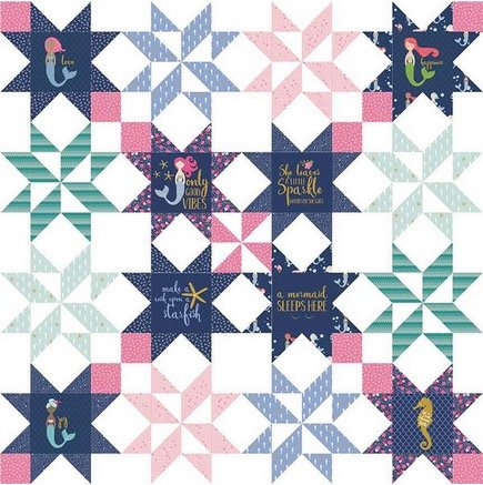 Star Bright Quilt Kit (using Lets Be Mermaids)