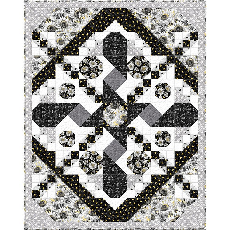 A Bee's Life Black-White Throw Quilt 56 1/2 x 71 1/2