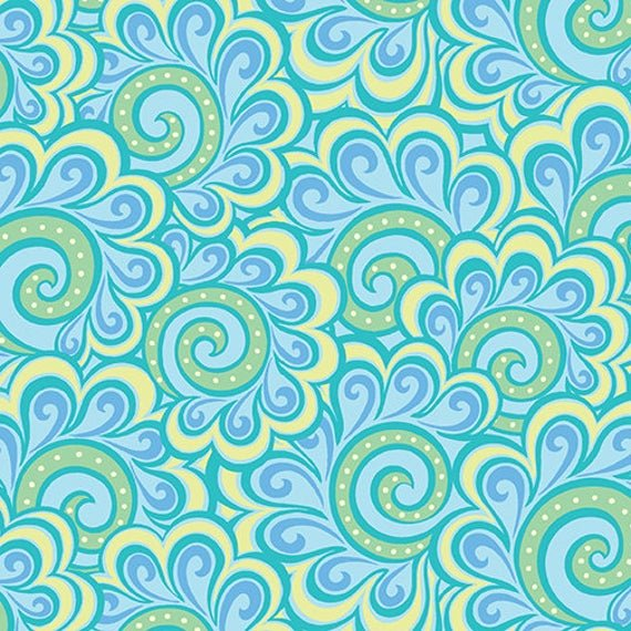 Free Motion Fantasy, Feather Aqua Fabric, Beginning Quilting, Swirl Blue, by Contempo, 05446-24