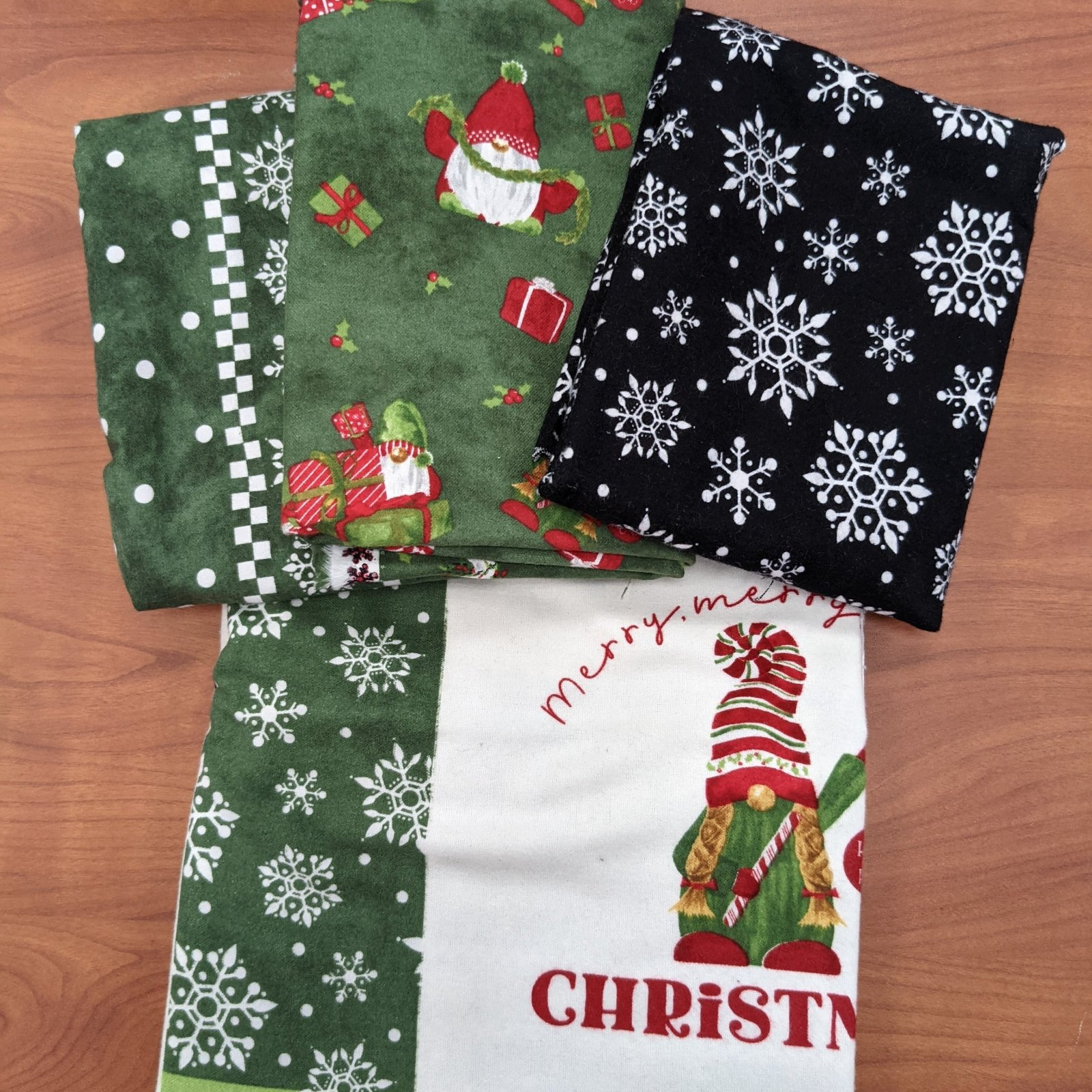 Green Gnome for Christmas with Green Gnome Presents Quilt Kit