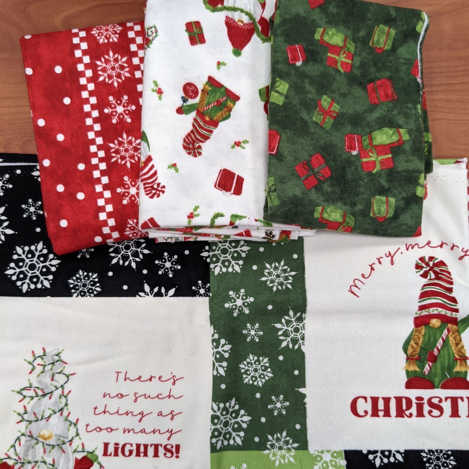 Green Gnome for Christmas with Green Presents Quilt Kit