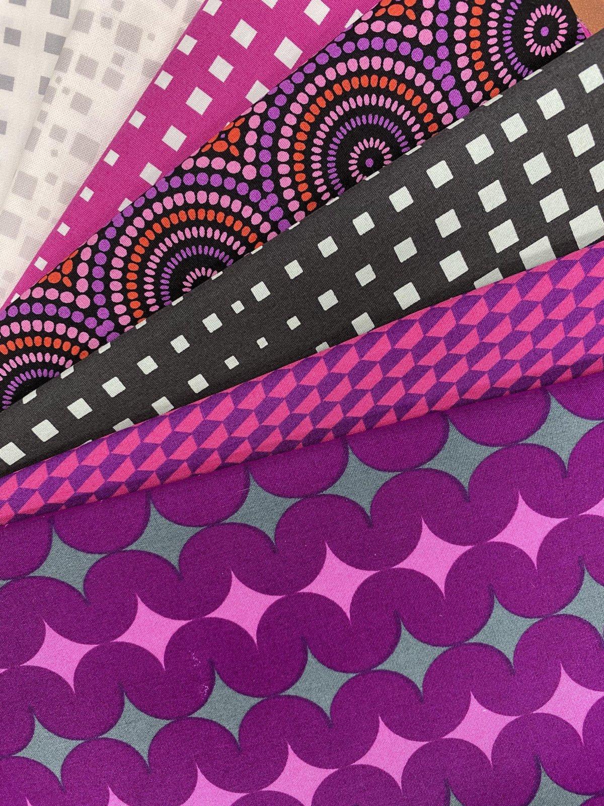 Fabric Kit - QAYG Zippered Cosmetic Bag Kit - Magenta - geo pop