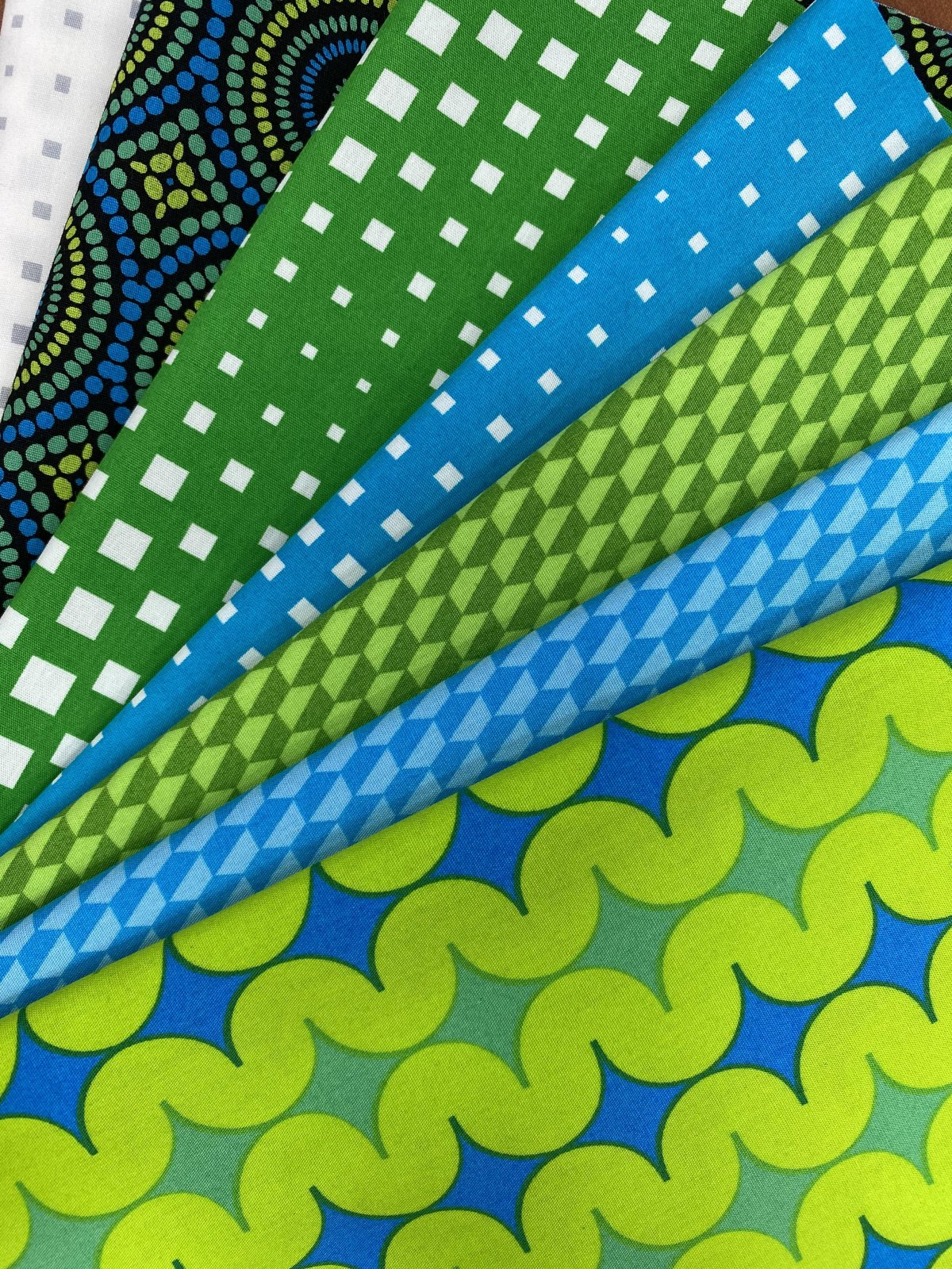 Fabric Kit for QAYG Zippered Cosmetic Bag - Blue/Green - Geo Pop
