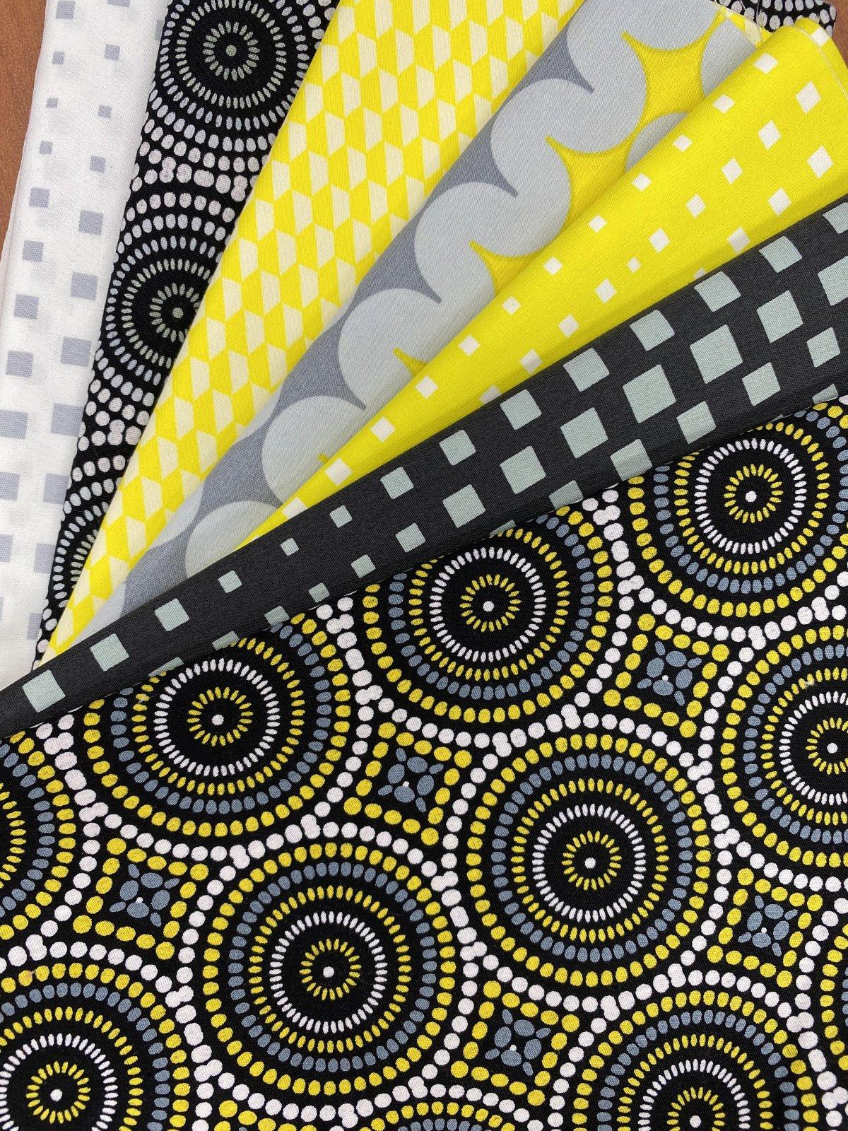 Fabric Kit = QAYG Zippered Cosmetic Bag - Yellow - Geo Pop