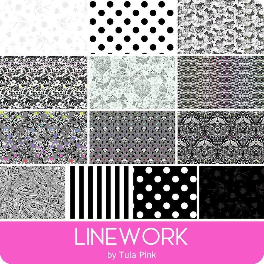 Free Spirit Tula Pink Linework 13pc Half Yard Bundle