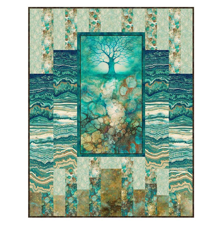 55x70 Earthquake Kit in Teals 2 (Tree of Wisdom Fabrics)