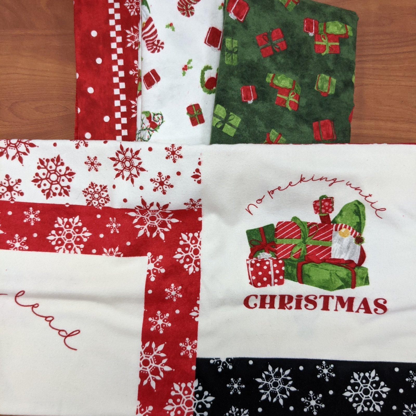 Red Gnome for Christmas with Green Presents Quilt Kit