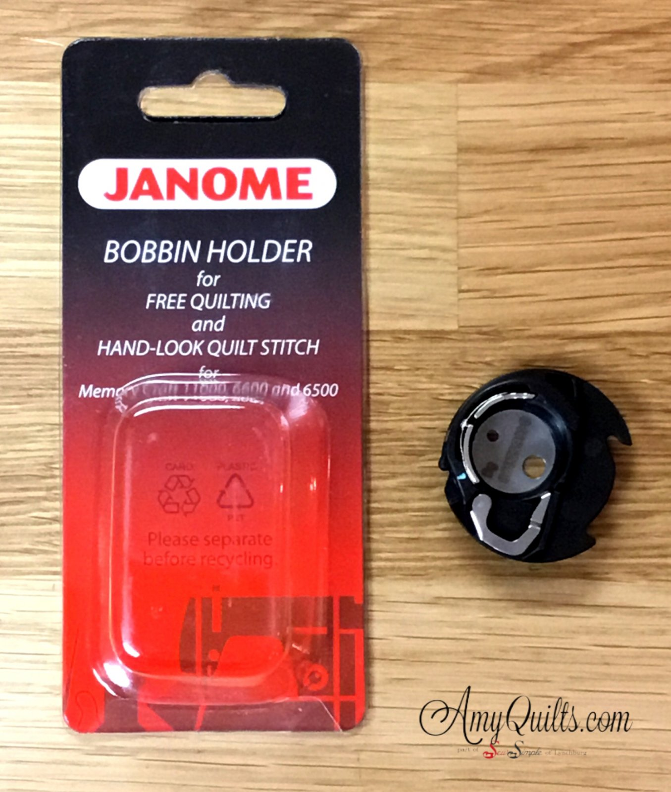 Janome Bobbin Holder for Free Quilting and Hand-look Quilt Stitch  (Blue Dot Bobbin Case)