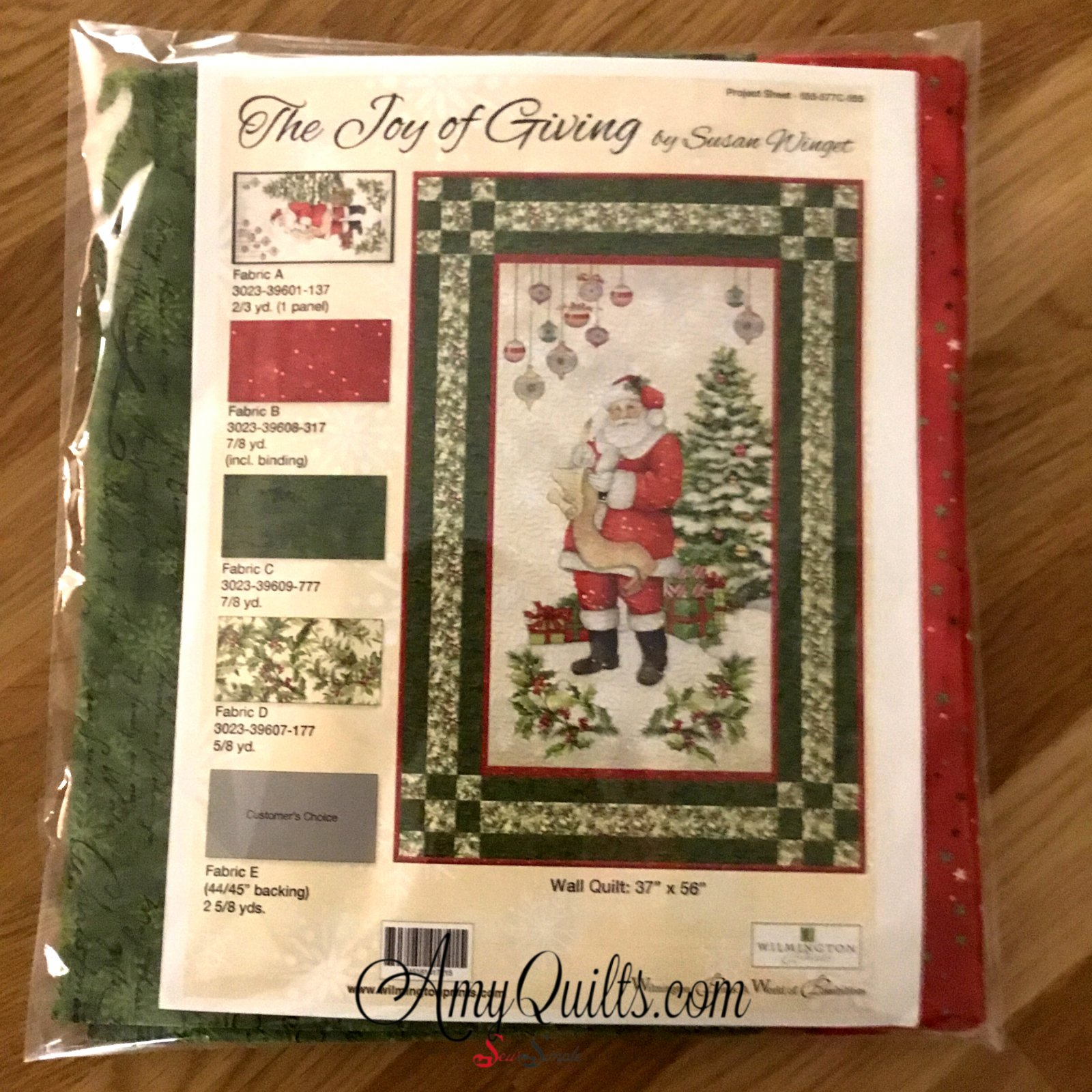 Santa Panel Quilt  Kit- Quilt Along Project