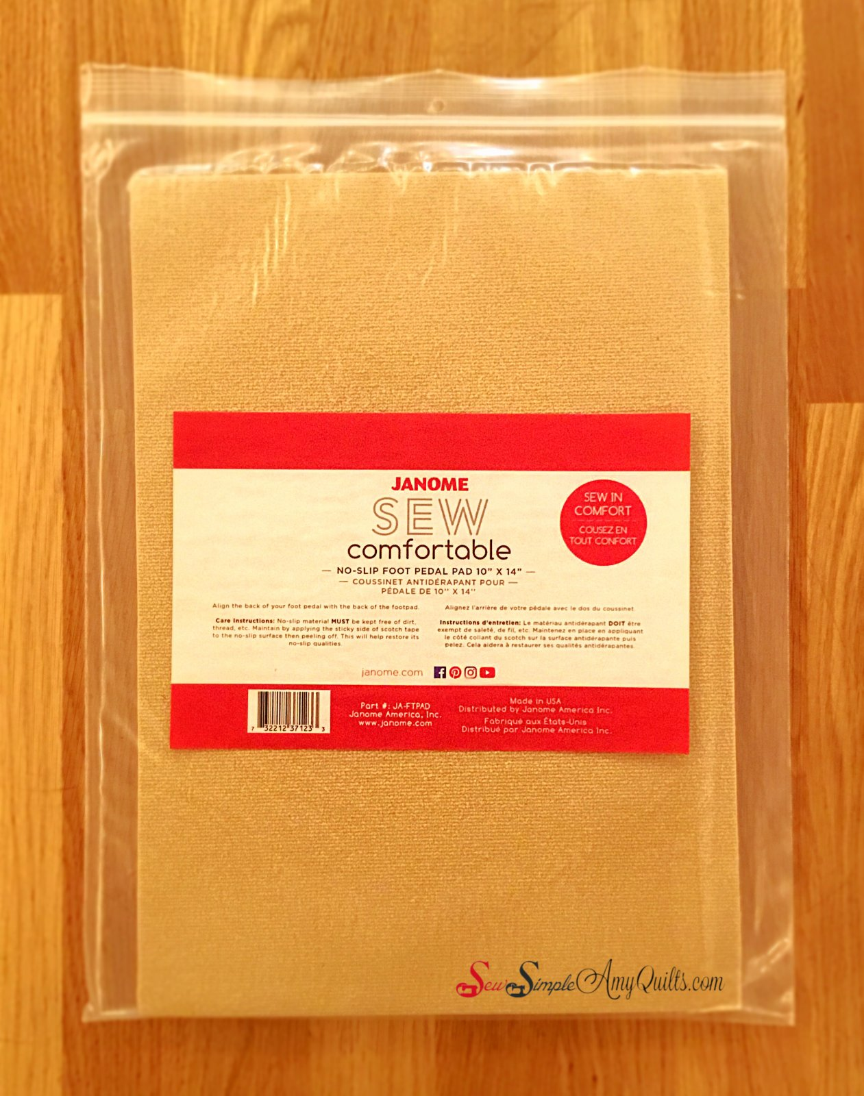 Janome Sew Comfortable No-Slip Foot Pedal Pad 10in x14in