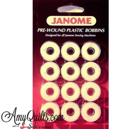 Janome Pre-wound Plastic Bobbins 12 pack