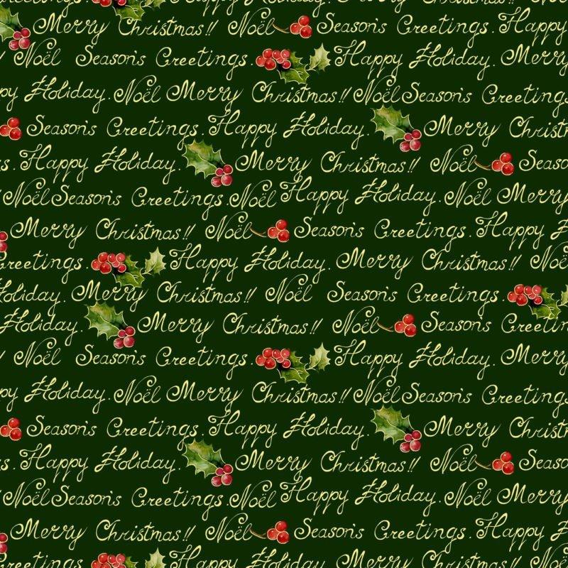 Noel Words with Metallic Dark Green