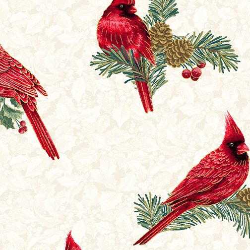Winter Elegance Cardinals on Cream