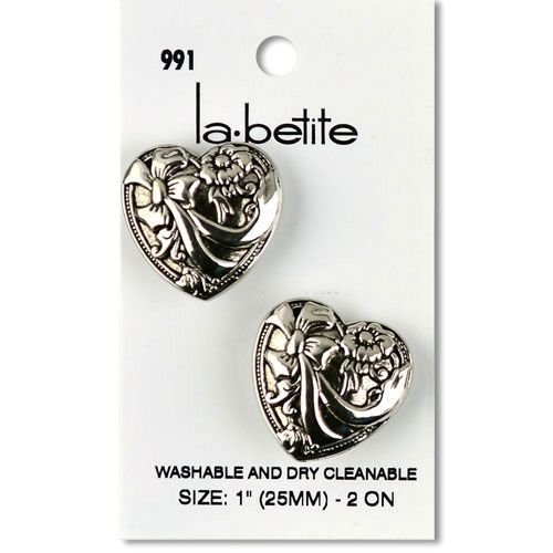 2 Silver Victorian Heart Shank Buttons 1 (25MM)