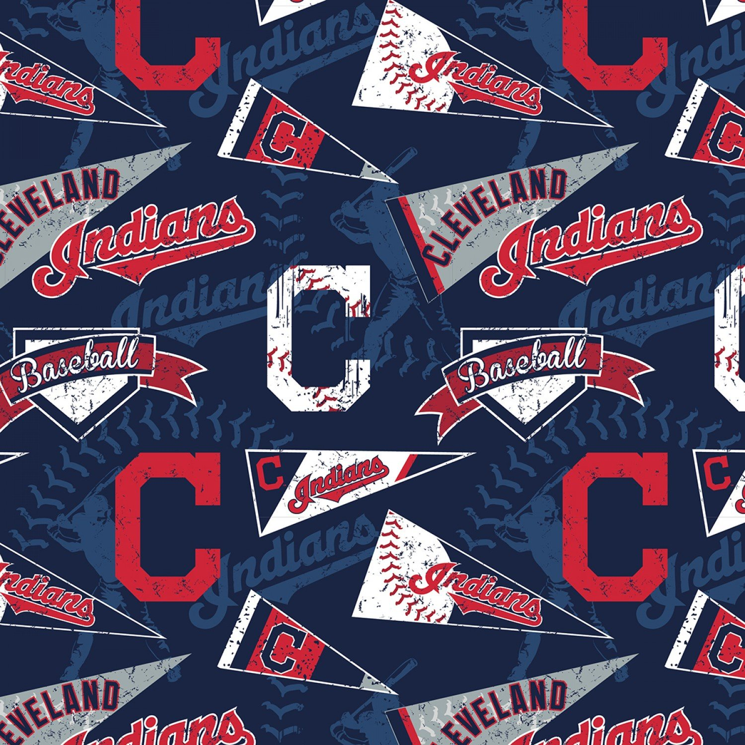 60 Cotton MLB Cleveland Indians Navy Tossed Logos