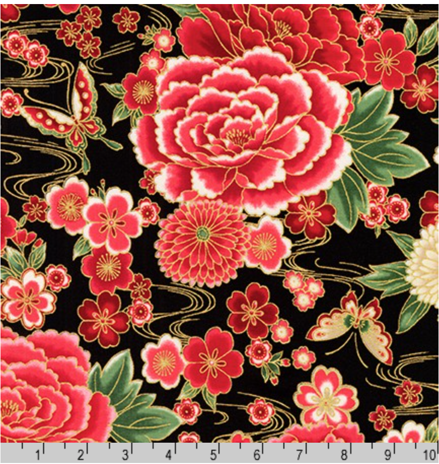 Imperial Collection Large Red Floral Print on Black