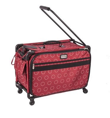 Tutto Large Red Dotted Circles Machine Tote on Wheels