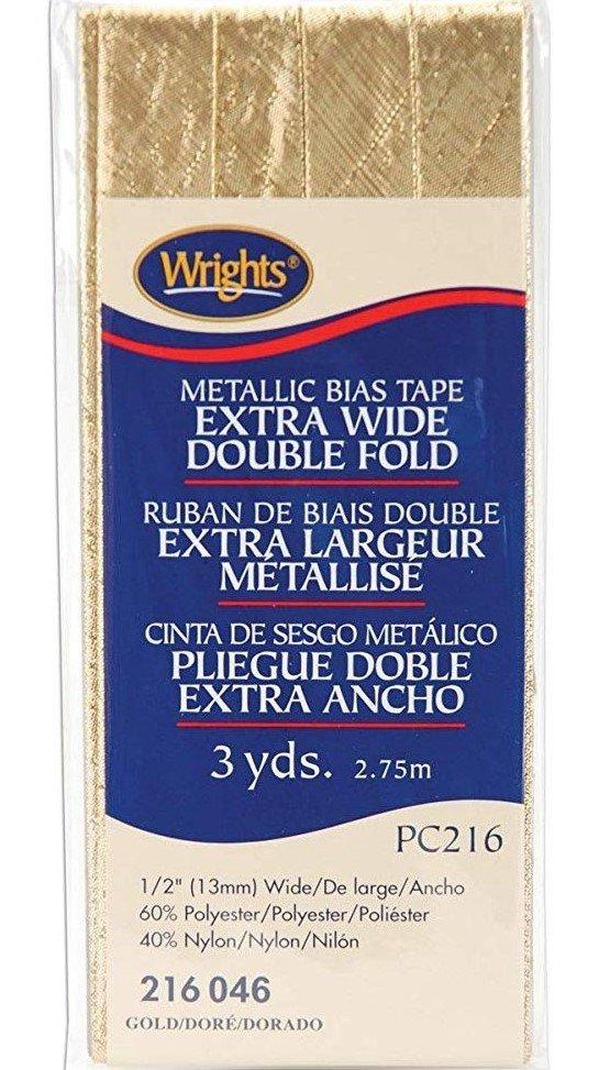 Extra Wide Double Fold Metallic Gold Bias Tape