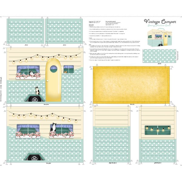 Sew & Go XI Vintage Camper Sewing Machine Cover Panel