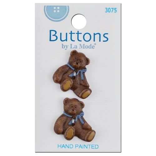 2 Hand Painted Bear with Blue Bows Buttons