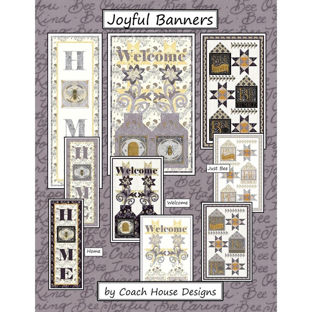Bee Joyful 3 Banners Kit Dark (black) Colorway by Deb Strain